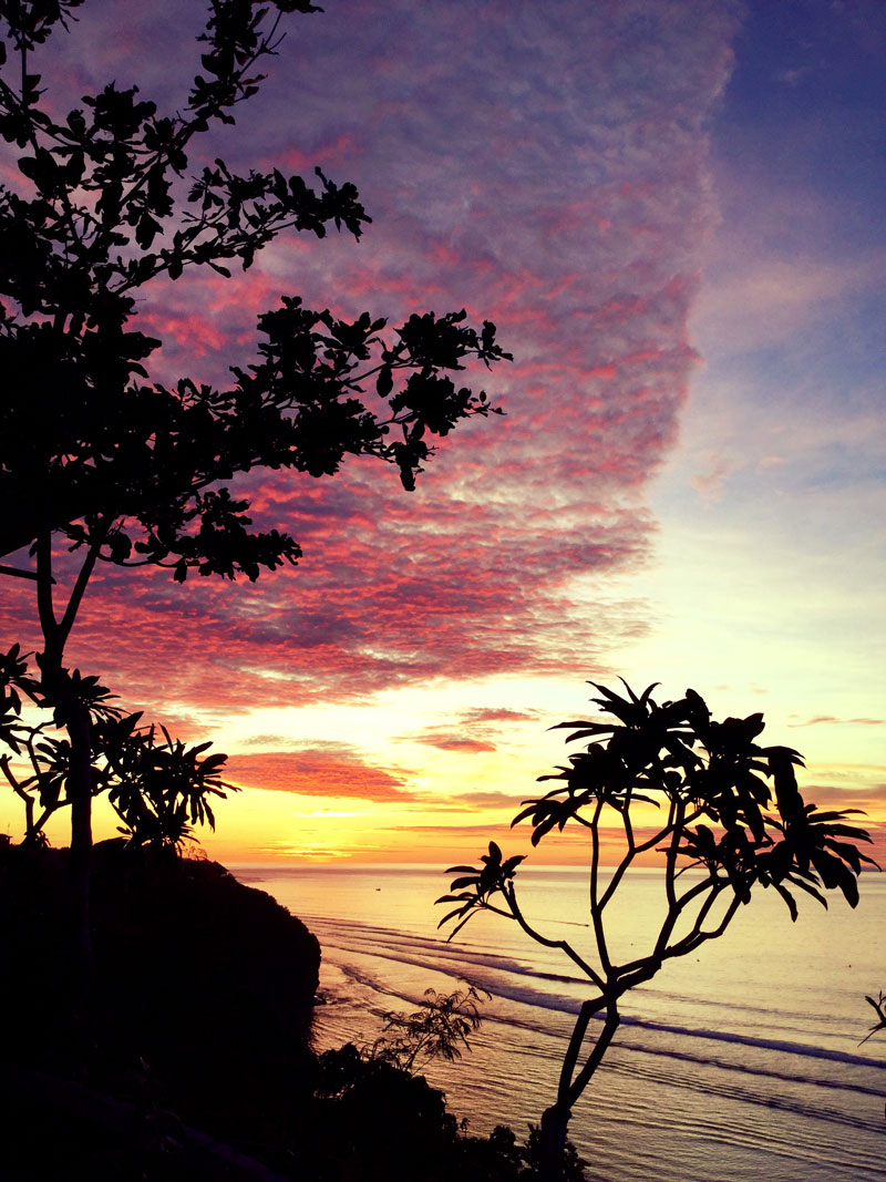 sunset bali perfect surfing